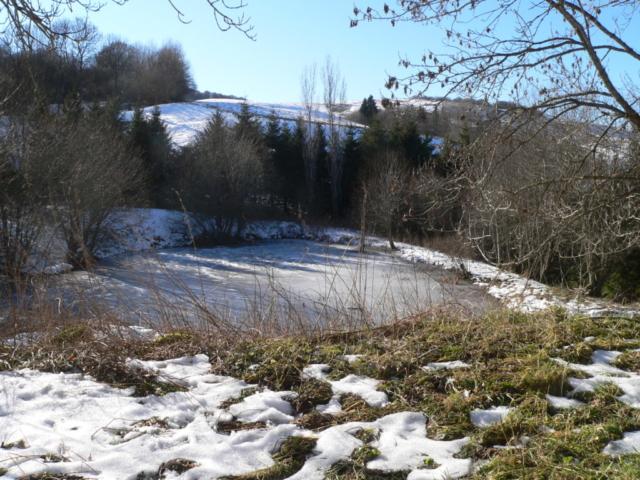 enneigé;neige;auvergne;colline;étang